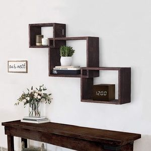 Wooden Interweave Floating Wall Mounted Shelves